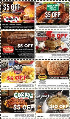 Smoky Mountains - Pigeon Forge Coupons - Gatlinburg Discount Coupons Gatlinburg Coupons, Gatlinburg Attractions, Quaker Steak, Tupperware Recipes, Pigeon Forge Tennessee, Discount Coupons, Discount Codes, Shopping Coupons, Fritters