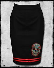 BANNED BLACK RED SUGAR SKULL ROCKABILLY PINUP GOTH PUNK 50s PENCIL WIGGLE SKIRT