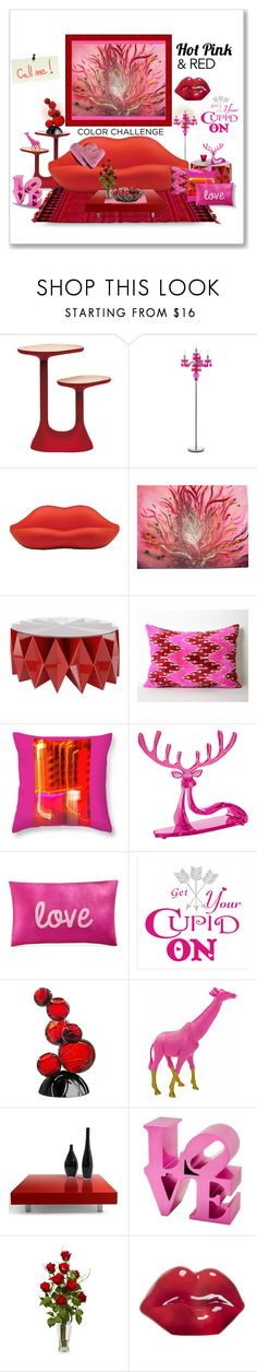 """Red & Pink"" by craftygeminicreation ❤ liked on Polyvore featuring interior, interiors, interior design, home, home decor, interior decorating, Moustache, AF Lighting, Altreforme and Koziol"
