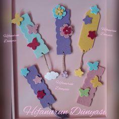 #hifanurundunyasi #keçe #bebekşekeri #kapısüsü #kitapayracı #ayraç #felt #feltros #doğumgünü #keçetasarım Craft Stick Crafts, Felt Crafts, Diy And Crafts, Crafts For Kids, Paper Crafts, Bookmark Craft, Diy Bookmarks, Journal Labels, Baby 1st Birthday