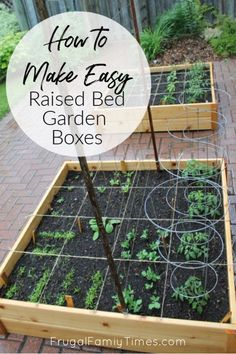 Grow vegetables anywhere! A cheap and easy project: garden boxes DIY. How to build simple raised garden beds. Ideas, tutorial and plans in this post. Ours is on top of a brick driveway, where we grow Cheap Raised Garden Beds, Building Raised Garden Beds, Raised Beds, Indoor Gardening Supplies, Container Gardening, Vegetable Gardening, Balcony Gardening, Garden Planters, Organic Gardening