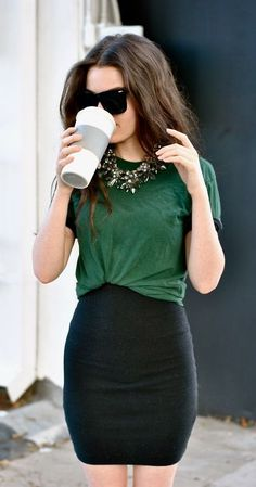 Pairing a skirt with a t-shirt instantly transforms your look from casual to chic!