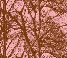 The Tree Lace ~ Pink   by peacoquettedesigns on Spoonflower ~ bespoke fabric, wallpaper, wall decals & gift wrap