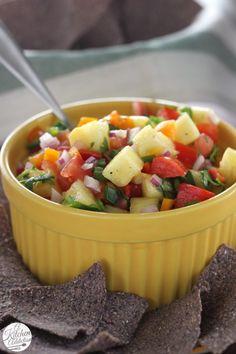 Easy Fresh Pineapple Salsa l www.a-kitchen-addiction.com