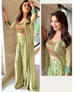pista green satin banglori printed plazzo suit with jacket - palazzo fabric:-satin banglory(full stitch)palazzo Colour:-pistapalazzo palazzo Blouse Fabric:-banglory silk(unstitch)Blouse green satin banglori printed plaz Indian Fashion Dresses, Indian Gowns Dresses, Dress Indian Style, Indian Designer Outfits, Indian Fashion Trends, Salwar Designs, Kurti Designs Party Wear, Blouse Designs, Kurtha Designs