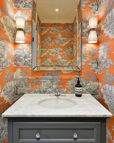 """Sarah Fox's Instagram profile post: """"Cloakrooms are often the smallest room in the house so can also be the most surprising. Here we've used a contemporary take on a toile in…"""" Next Bathroom, Modern Bathroom, Bathroom Showrooms, Bathrooms, Powder Room Decor, Window Furniture, Orange Paper, Downstairs Loo, Wash Hand Basin"""