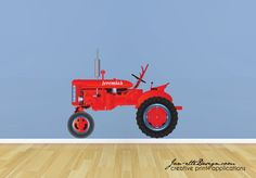 Big Red Farm Tractor Personalized Fabric Wall Decal. $58.00, via Etsy.