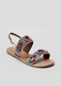 Leather Beaded Strappy Sandal Matalan, Foot Locker, Strappy Sandals, Espadrilles, Leather, Accessories, Shoes, Women, Fashion