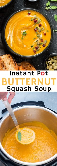 Instant pot butternut squash soup is velvety smooth soup, perfect for lunch or dinner. It's a great winter meal with crusty bread. This soup is vegan, naturally gluten free and has extra kick from red bell peppers and curry powder. It only takes minutes in your instant pot to get this soup ready. Cooking With Coconut Milk, Cooking Red Lentils, Cooking Light, Curry, Ethnic Recipes, Food, Eten, Hoods, Meals