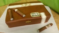 Cigar box cake for hubs bday Birthday Cake For Him, Special Birthday Cakes, 70th Birthday Parties, Birthday Gifts For Husband, Birthday Desserts, 50th Party, Birthday Ideas, Cigar Box Cake, Masculine Cake