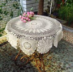 Vintage Handmade Crochet Tablecloth