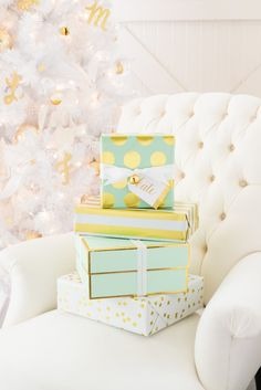 Love these glam polka dot + pastel holiday gift wrapping options.