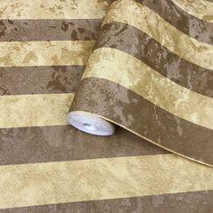 300066 Gold Bronze Brown Striped Wallpaper
