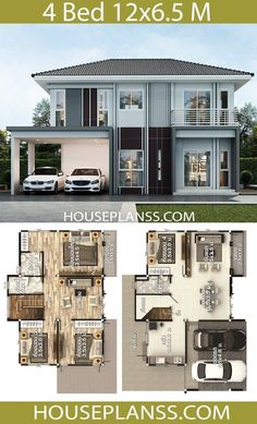 Two Story House Design, 2 Storey House Design, Bungalow House Design, House Front Design, Modern House Design, New Model House, Model House Plan, 4 Bedroom House Designs, 4 Bedroom House Plans
