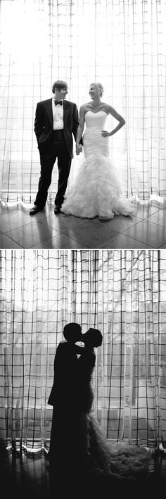 The black and white silhouette of the bride and groom - perfection