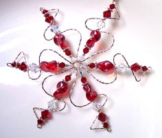 Swarovski Crystal Red Snowflake Necklace, Sterling Silver Snowflake Ornament, Stocking Stuffer Christmas Gift for Her, Solstice Gift for Him Crystal Snowflakes, Snowflake Ornaments, Glass Ornaments, Christmas Ornaments, Beaded Snowflake, Christmas Crafts, Christmas Gifts For Her, Silver Beads, Special Gifts