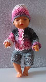 Crocheted doll clothes for Baby Born