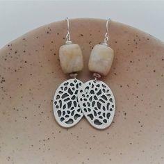 Organic stone dangle earrings