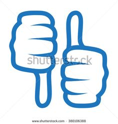 thumb up and down icon. blue color isolated on white - stock vector