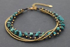 Turquoise Chain Layer Adjustable Anklet