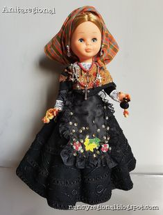 "Spanish Flamenco Doll 5½/"" Blue Fancy Costume w Guitar Mantilla New in Box Marin"