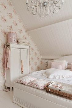Cottage bedroom with delicate floral wallpaper contrasting the white tongue and . - Cottage bedroom with delicate floral wallpaper contrasting the white tongue and groove walls - Shabby Chic Bedrooms, Shabby Chic Cottage, Shabby Chic Homes, Rose Cottage, Cottage Bedroom Decor, Cottage Bedrooms, White Cottage, Cottage Interiors, Trendy Bedroom
