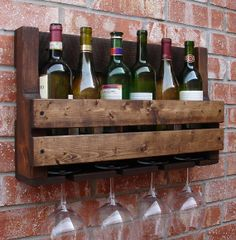 Simply Rustic 6 Bottle Wall Mount Wine Rack with 4 #Wine Glass Slot Holder - #storage #kitchen #homedecor