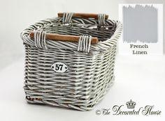 The Decorated House:~ French Linen Basket Makeover : How to with Annie Sloan Chalk Paint Wicker Dresser, Wicker Trunk, Wicker Mirror, Wicker Shelf, Wicker Furniture Cushions, Wicker Headboard, Painted Baskets, Painted Wicker, Cane Baskets