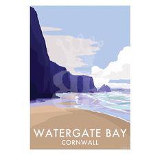 Vintage style prints and posters available at www.beckybettesworth.co.uk #devonartist #vintage #travelposters #seasideprints #devon #cornwall #watergatebay #hotel #sandybeach #makingmemories