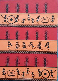 Warli painting by sneha gupta Contemporary Warli, tribal Art Painting, Indian Art Paintings, Worli Painting, Fabric Painting, Pottery Painting Designs, Madhubani Painting, Tribal Art Drawings, Folk Art Painting, Tribal Art Designs