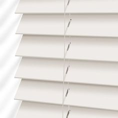 Classics Simply White Faux Wood Blind - Slat from Blinds Bay Window Living Room, Faux Wood, Cheap Curtains, Blinds For Windows, Wooden Blinds, Wood Blinds, White Wooden Blinds, Blinds, White Wood