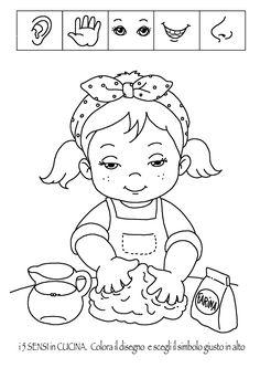 Nell'Archivio di Scuola da Colorare ho inserito dei nuovi disegni sui 5 sensi: olfatto, tatto, udito, vista e gusto, ambientati in cucina. I bambini possono impararea conoscere il proprio c…