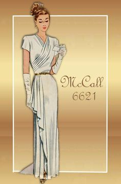 Vintage Dress Pattern McCall 6621 1940s Floor Length Evening Dress with Draped Bodice and Side Cascading Skirt