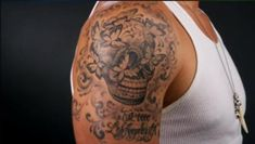 Eric Balfours awesome tattoo of the skull from his album cover, done by Kat Von D.