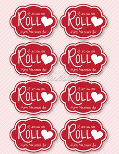 """Valentine PRINTABLE 'I Like How You Roll"""" Party from Love The Day. $5.00, via Etsy."""