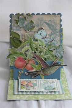 graphic 45 Botanical Tea number 8,double easel card. lots of fussy cutting