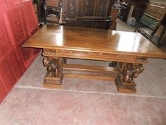 MAN OF THE MOUNTAIN CARVED ITALIAN ANTIQUE WALNUT DINING TABLE - 13IT033C