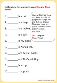 Printable This & These Charts and Worksheets for English Language - Your Home Teacher English Grammar For Kids, Learning English For Kids, Teaching English Grammar, English Lessons For Kids, Kids English, English Writing Skills, English Vocabulary Words, Grammar Lessons, Learn English Words