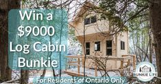 You could win extra space for a home office or for family and friends. Science Words, Small Log Cabin, Durham Region, Welcome To My House, Cabin Kits, Roof Deck, Places To Go, Manitoulin Island, Sheds