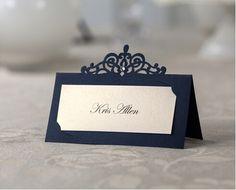 24 peças/pacote parti événement fournitures clients nom cartes laser cut élégante royale bleu , lieu titulaire de la carte pour invités au mariage