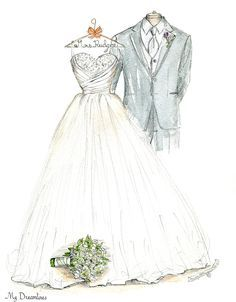 Wedding Dress Sketches Perfect One Year Anniversary Gift Day From The Groom To Bride Bridal Shower Sister Of G