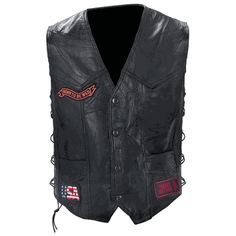 Rock Design Men's Leather Biker Vest Thsi vest features multiple patches with black snaps and laced sides. Patches on the front read: BORN WILD STILL WILD, FREEDOM ISN'T FREE, and USA. Back patches read: THESE COLORS DON'T RUN, LOUD PIPES SAVE LIVES, ROUTE 66, and RIDE FREE. There is a large eagle patch featured on the back as well. The Live To Ride™ brand embroidered patches are included and already sewn on vest. Actual designs may vary slightly from photograph.