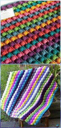 Crochet Blackberry Salad Striped Baby Blanket Free Pattern - Crochet Rainbow Blanket Free Patterns (I like the blackberry ssalad striped) Crochet Afgans, Crochet Quilt, Baby Blanket Crochet, Crochet Hooks, Crochet Baby, Knit Crochet, Crochet Blankets, Plaid Au Crochet, Crochet For Beginners Blanket