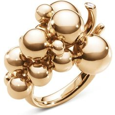 Georg Jensen Moonlight Grapes 18ct rose-gold and diamond ring ($2,475) ❤ liked on Polyvore featuring jewelry, rings, pink gold diamond rings, diamond jewelry, rose gold jewelry, red gold ring and art nouveau jewelry