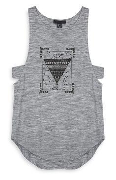 6€ Primark - Camiseta sin mangas gris con trabillas