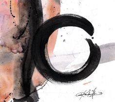 The Enso Of  Zen 2 ...  Original Contemporary Modern Zen circle art painting on Canvas by Kathy Morton Stanion EBSQ