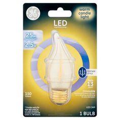 GE LED 2.5W 150 Lumens Warm Candle Light CAM Bulb