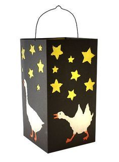 Folding lantern, black - Black folding lantern with geese prickle pads - Autumn Activities, Art Activities, Hl Martin, Ribbon Crafts, Paper Crafts, Diy For Kids, Crafts For Kids, Book Page Wreath, Envelope Art