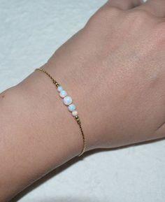White Opal Bracelet Tiny Opal Dot Bracelet by ModernJewelBoutique