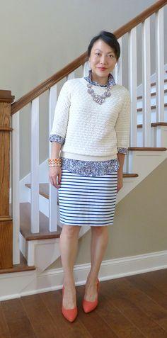 #bananarepublic sweater #jcrew shirt #jcrewfactory skirt #pourlavictoire heels